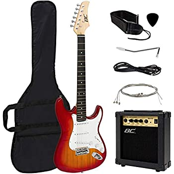 Best Choice Products 41in Full Size Beginner Electric Guitar Starter Kit w/Case, Strap, 10W Amp, Tremolo Bar - Sunburst