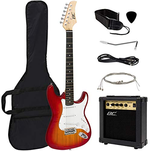 Best Choice Products 39in Full Size Beginner Electric Guitar Starter Kit w/ Case, Strap, 10W Amp, Tremolo Bar - Sunburst (Best Electric Guitar Strings For Beginners)