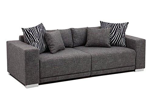 Hikenn Big Sofa Couch London XL 237x103cm Strukturstoff grau Couchgarnitur