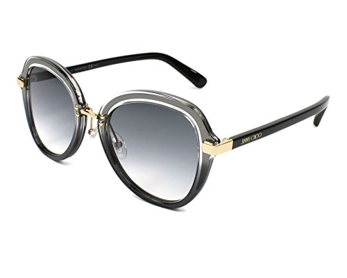 (Jimmy Choo sunglasses (DREE-S V81/9O) Transparent Grey - Shiny Black - Grey blue Gradient lenses)