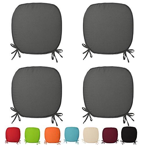 Beautissu® 4er Set Stuhl-Kissen Lara - 38x38x1,5cm Anthrazit (Grau) - Sitz-Auflage - Deko-Polster für Wohnung & Garten