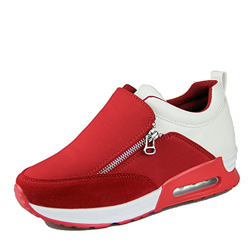 Women Fashion Wedge Shoes (OUOUVALLEY Height Increasing Fashion Platform Shoes Women's Casual Sport Shoe (US9(CN41=255CM), red))