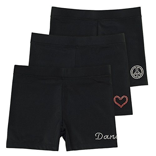 Ella Girls Dance Shorts, Gymnastics & Dancewear, Black Shorts, 3-Pack, 9/10