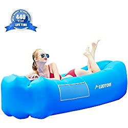 Inflatable Lounger Air Sofa, Super Density without Leaking , 440 lb Portable & Waterproof Ideal Inflatable Couch for Camping Accessories for Pool Backyard Traveling Camping Picnics Music Festivals