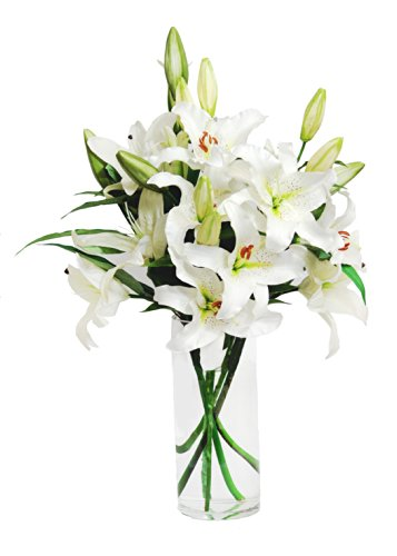 White Lily Bouquet (8 Stems) - With Vase
