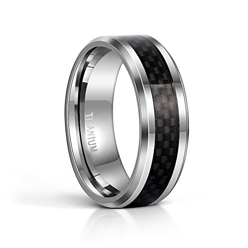TIGRADE 8MM Men's Titanium Black Carbon Fiber Inlay Beveled Edges Ring Wedding Band Comfort Fit Size 5-15(12) ()