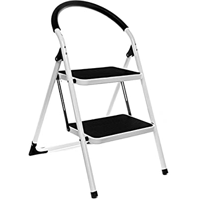 Delxo 2 Step Ladder Folding Step Stool Steel Stepladders with Handgrip Anti-slip Sturdy and Wide Pedal Steel 330lbs White and Black Combo(WK2061A-2)