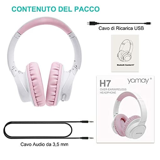 YAMAY Cuffie Bluetooth 5.0 Senza Fili con Microfono Cuffie Wireless Over Ear con Cavo Audio da 3.5mm Musica Stereo Cancellazione Rumore Due