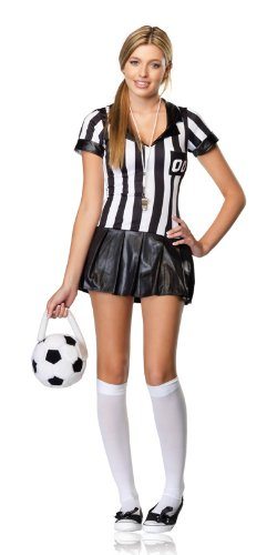 Leg Avenue Junior's 3 Piece Junior Referee Costume, Black/White, (Referee Halloween Costumes For Girls)