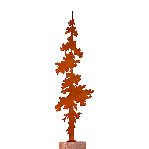 Elegant Garden Design Pine Tree - Large, Steel Silhouette with a Rusty Patina