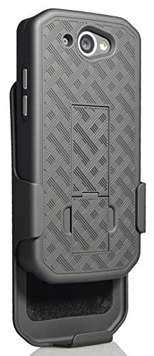 CAT S48c Case with Clip, Nakedcellphone [Black Tread] Kickstand Cover with  [Rotating/Ratchet] Belt Hip Holster Holder Combo for Caterpillar CAT S48c
