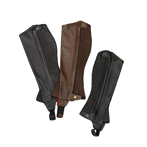 Grain Leather Chaps - Ovation Boys' Pro Top Grain Leather Half Chaps Black 12-14 US
