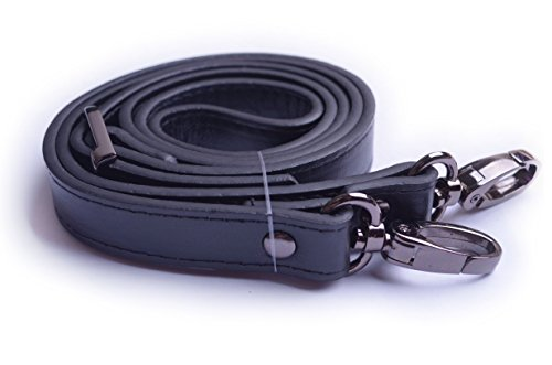 Wento 1pcs 43''-49'' Pu Black Leather Adjustable Bag Strap,soft Leather Shoulder Straps,replacement Cross Body Purse Straps,handbag Bag Wallet Straps (Black Gunmetal)