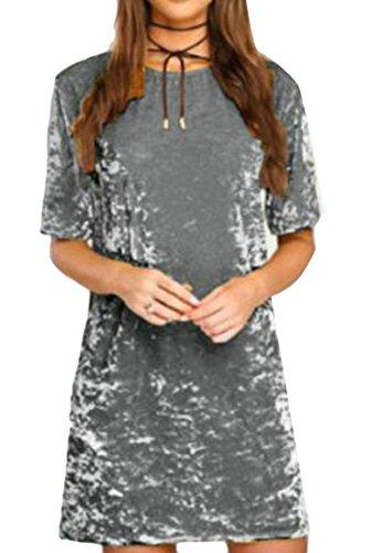 Vestito Maglie Velluto Cromoncent Mini A T Comodità Corta shirt Womens Grigio Manica Avf7qq