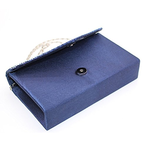 Multicolore Borsa Sera Il Frizione Di Borsetta Da Strass Brillante Blue3 Sposa Sacchetto Raso xIywvPUq0n
