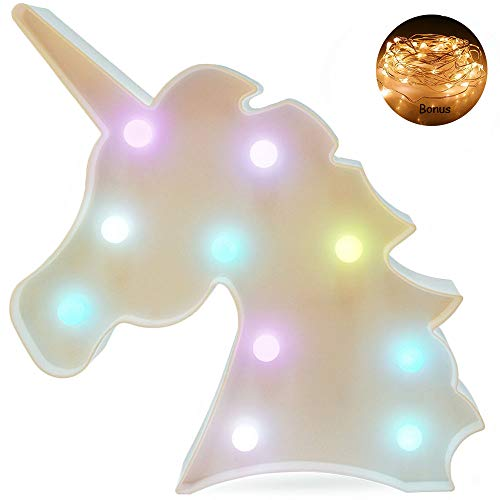 Colorful Unicorn Light Marquee Unicorn Decorative Signs Unicorn Shaped Battery Operated Night Lamp for Wall Home Bedroom Party Theme Supplies Decorations Girls