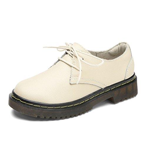 HWF Zapatos para mujer Zapatos de primavera Martin Zapatos de cuero de mujer casual estilo británico Zapatos universales ( Color : Beige , Tamaño : 40 ) Beige