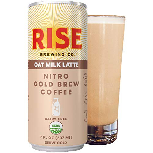 RISE Brewing Co. | Oat Milk Nitro Cold Brew Latte (12 7 fl. oz. Cans) - USDA Organic, Non-GMO | Vegan & Dairy Free | Clean Energy, Low Acidity, Slightly Sweet & Refreshingly Smooth | 130 Calories