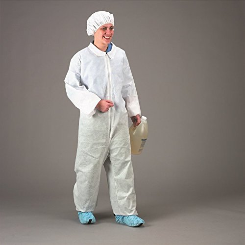 DAIGGER Scientific Inc Large White Pack of 25 Cellucap 5540WHTL-DS Front-Zip Coveralls Without Pockets