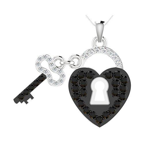 Libertini pendentif argent 925 femme serti de Diamant en forme de serrure n clé