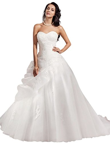 Tidetell ELegant Sweetheart Ball Gown Embroidery Chapel Train Wedding Dress White Size 2