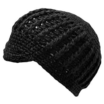 Luxury Divas Black Chunky Knit Short Brim Beanie Cap Hat