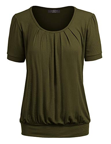 Made By Johnny MBJ WT1175 Womens Scoop Neck Short Sleeve Front Pleated Tunic S - Tunic Top Blouson