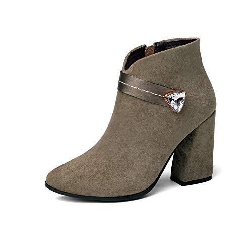 Hoesczs Moda Heels 43 Hoof Botas 34 Tobillo Mujer Estrecha Zapatos De 2019 Plataforma Tamaño Khaki Cremallera Elegante Punta qwqrCUHAWn