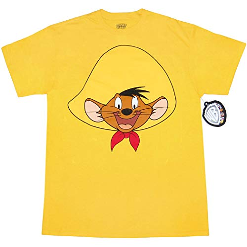 Chicken Yellow T-shirt - Looney Tunes Character Face T-Shirt (Speedy Gonzales, Yellow, Medium)