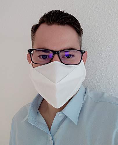 KFS3 Brillenträger Behelfs Mundschutz Maske in weiß aus 3-lagigem Vlies - individuell anpassbar - Handmade – kein Brillenbeschlagen