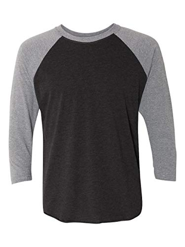 Next Level Apparel 6051 Unisex Tri-Blend 3 By 4 Sleeve Raglan - Premium Heather & Vintage Black44; Medium