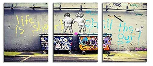 YPY Banksy Life is Beautiful Canvas Giclee Artwork 3 Panels for Modern Home Decor Stretched and Framed Ready to Hang Size 36(W) X 16(H) inches
