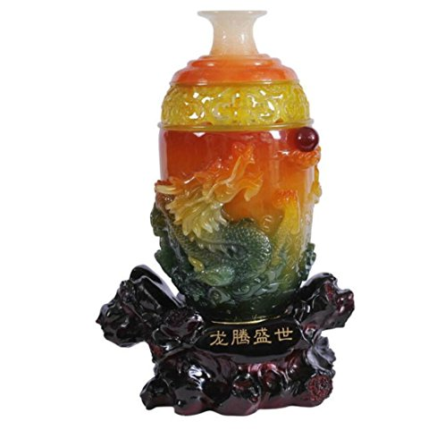 GL&G Lucky Dragon and Phoenix vase Decoration High-end marry gift New house Decorations Home living room TV cabinet office Tabletop Scenes Ornaments Collectible,312047CM by GAOLIGUO