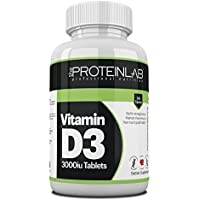 Vitamin D3 365 Tablets (Full Year Supply) 3000iU Vitamin D3 Supplement, High Absorption Cholecalciferol by The Protein Lab