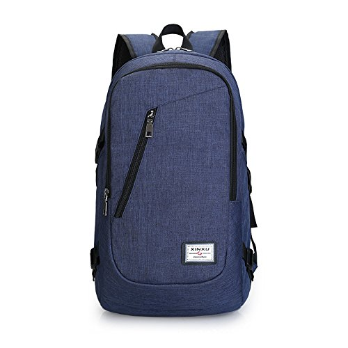 Icon Wheeled Computer Bag (Professional Slim Laptop Backpack Anti Theft Travel Bag Water Resisten Business Computer Bag College Shoulder Bag with USB Charging Hole Fits less than 17 inch Latop (Blue))