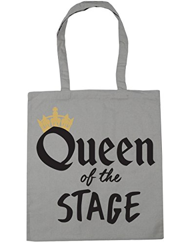 HippoWarehouse Queen of the Stage Tote Shopping Gym Beach Bag 42cm x38cm, 10 litres Light Grey