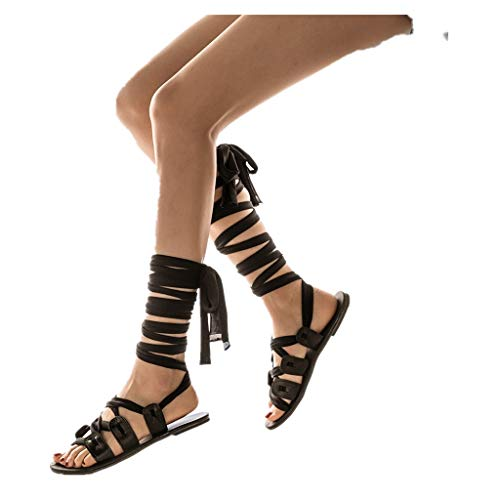 Cenglings Womens Knee High Gladiator Sandals Flat Lace Up Strappy Summer Shoes Flat Sandals Black