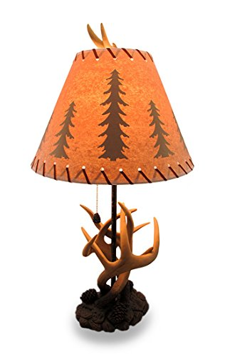 Resin Desk Lamps Triple Antler Desk Lamp W/Pine Cone Pull And Leather Look Shade 14 X 27 X 14 Inches Multicolored - Pinecone Pull