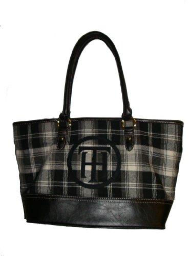 - Tommy Hilfiger Women's Tote Handbag, Black Plaid