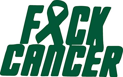 ANGDEST Fuck Cancer Fight Ribbon (Green) (Set of 2) Premium Waterproof Vinyl Decal Stickers for Laptop Phone Accessory Helmet Car Window Bumper Mug Tuber Cup Door Wall Decoration