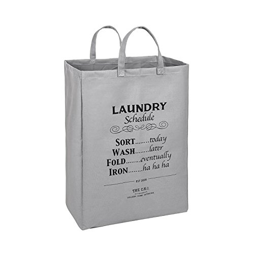 The C.H.O. Hilarious Square Laundry Hamper | Grey Laundry Schedule | 55 Liters of Heavy Duty Cotton Canvas | 21 Inches Tall x 16 Inches Wide | Collapsible | Drawstring Enclosure for Extra Space - Love Shelf Bra