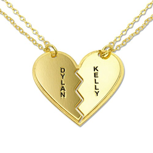Personalized Breakable Heart Necklaces - Custom Made with 2 names! Free engraving! Tiffany Two Hearts Pendant