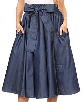 Sakkas Atieno Flared Circle Chambray Boho Mid Skirt with Elastic Waist