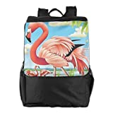 FVCXKM Personalized Unisex Outdoors Backpack,Travel/Camping/School-Flamingo in The Lake Adjustable Hiking Travel Daypack for Women,Men