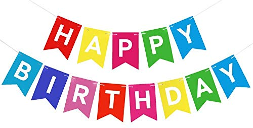 Happy Birthday Banner Colorful Party Decorations Bunting Garland With Cake Topper
