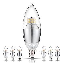 LOHAS Candelabra Bulbs, LED Bulbs Dimmable, 6W (60 Watt Equivalent) Daylight (5000K) LED Lights, Candelabra Base Light Bulbs E12 LED, Chandelier 550 Lumens LED Bulb for Home Lighting (6 Pack)