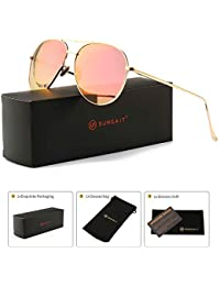 Women's Lightweight Oversized Aviator sunglasses - Mirrored Polarized Lens