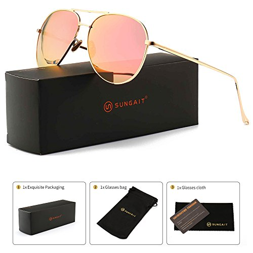 SUNGAIT Women's Lightweight Oversized Aviator sunglasses - Mirrored Polarized Lens (Light-Gold Frame/Pink Mirror Lens, 60)1603JKF