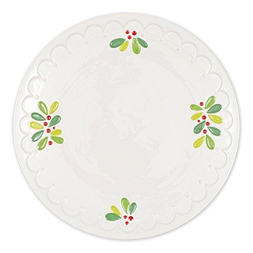 DII Ceramic Mistletoe Holiday Platter