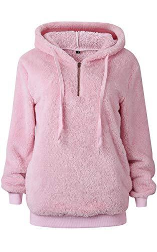 Angashion Womens Sweatshirt - Long Sleeve 1/4 Zip Up Faux Fleece Pullover Hoodies Coat Tops Outwear with Pocket 169 Dark Pink M -
